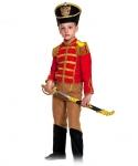 Детский карнавальный костюм Гусар (замш) красно-бежевый с сапогами
