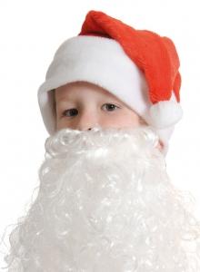 Колпаки новогодние плюш красный с бородой