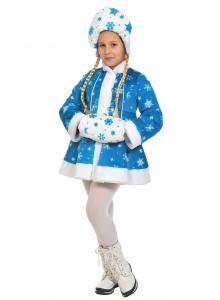 Детский карнавальный костюм Снегурочка 2 плюш бирюза