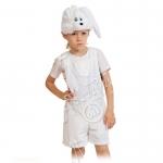 Детский карнавальный костюм из плюша Зайчик белый